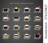 hot coffee drinks recipes icons ... | Shutterstock .eps vector #276123827
