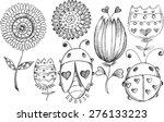 doodle sketch spring flower bug ... | Shutterstock .eps vector #276133223