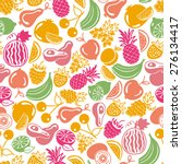 seamless pattern vector fruits... | Shutterstock .eps vector #276134417