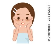 woman with spotty skin with... | Shutterstock .eps vector #276142337