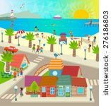 beach town   aerial view of a... | Shutterstock .eps vector #276186803