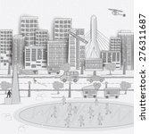 american city. boston city. in...   Shutterstock .eps vector #276311687