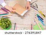 creative top view photo of man... | Shutterstock . vector #276391847