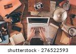 Messy Vintage Desktop With...