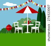 summer garden party barbecue... | Shutterstock .eps vector #276523007