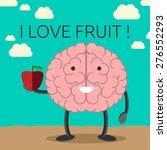 smiling brain character holding ... | Shutterstock .eps vector #276552293