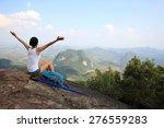 woman hiker enjoy the view at...   Shutterstock . vector #276559283