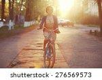 Girl On Bike Sunset Summer Sun