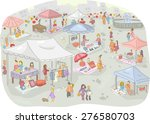 Illustration Of A Flea Market...