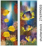 underwater banners with yellow... | Shutterstock .eps vector #276599003