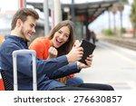 euphoric couple watching movies ... | Shutterstock . vector #276630857