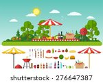 picnic on nature. set of... | Shutterstock .eps vector #276647387