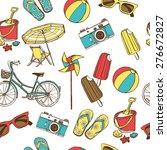 retro summer vacation seamless... | Shutterstock .eps vector #276672827