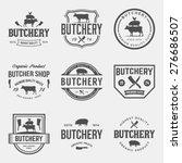 vector set of butchery labels ... | Shutterstock .eps vector #276686507