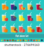 fruits juices flat icons set.... | Shutterstock .eps vector #276694163