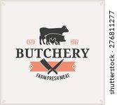 Butcher Shop Logo  Meat Label...