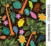 funny joyful tropical seamless... | Shutterstock .eps vector #276833153