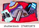 travel set. tourist outfit for... | Shutterstock . vector #276851873