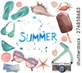 watercolor summer vacation... | Shutterstock .eps vector #276858683