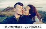 traveler young loving couple... | Shutterstock . vector #276902663