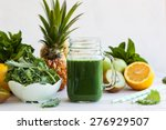 Fresh Kale Fruit Smoothie In A...
