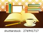 illustration of open book  cup... | Shutterstock .eps vector #276941717
