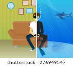 happy guy is sitting at home... | Shutterstock .eps vector #276949547
