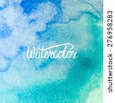 Watercolor Wet Hand Drawn Blue...