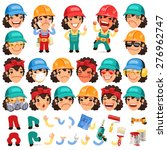 set of cartoon lady worker... | Shutterstock .eps vector #276962747