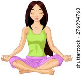 beautiful girl doing yoga... | Shutterstock .eps vector #276994763