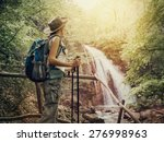 hiking. hikers woman with a... | Shutterstock . vector #276998963