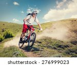 mountain bike. cyclist riding... | Shutterstock . vector #276999023