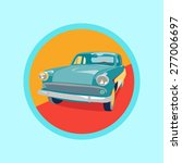 round sticker of retro car on... | Shutterstock . vector #277006697