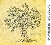 olive tree on vintage paper....   Shutterstock .eps vector #277026143