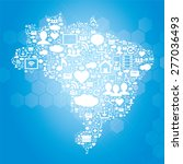 brazil map with icons of social ... | Shutterstock .eps vector #277036493