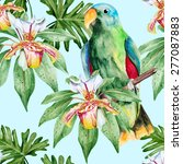 green amazon parrot and orchids.... | Shutterstock .eps vector #277087883