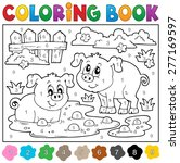 coloring book with two happy... | Shutterstock .eps vector #277169597