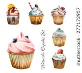 watercolor cupcakes set with... | Shutterstock .eps vector #277172957