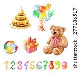 birthday set. watercolor.... | Shutterstock .eps vector #277186517