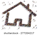 large group of people seen from ... | Shutterstock . vector #277204217