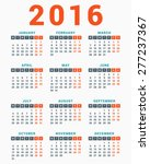 Calendar For 2016 On White...