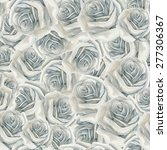 watercolor white rose pattern | Shutterstock . vector #277306367