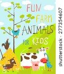 Colorful Funny Cartoon Farm...