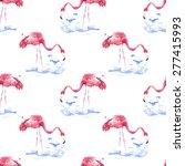 flamingo pattern  watercolor   Shutterstock . vector #277415993