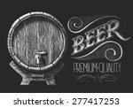 Vector Barrel Of Beer Drawn On...