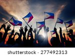 group of people waving filipino ... | Shutterstock . vector #277492313