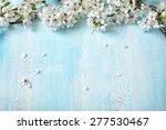 fresh cherry flowers on old... | Shutterstock . vector #277530467