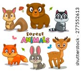 Set Of Cute Cartoon Forest...