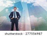 happy businessman with hands on ... | Shutterstock . vector #277556987