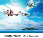 young man flying on blue sky... | Shutterstock . vector #277562963